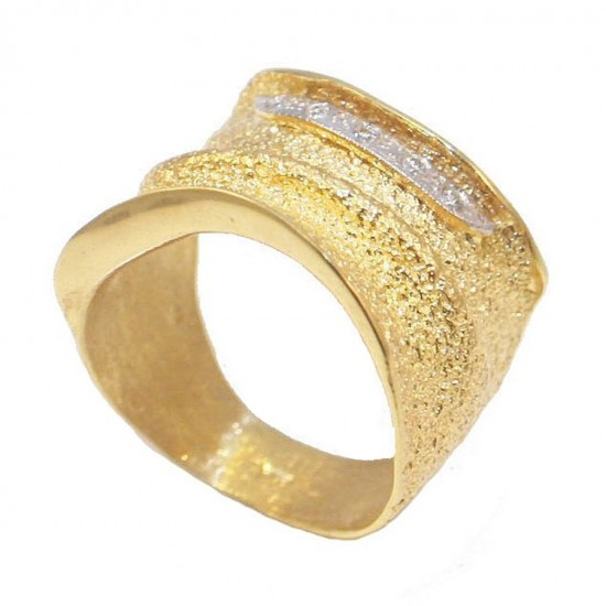 Gold ring handmade K14 with white zircons No. 52