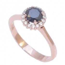Δαχτυλίδι ροζ χρυσό Κ14 ροζέτα με λευκά ζιργκόν και μαύρο ζιργκόν U3116