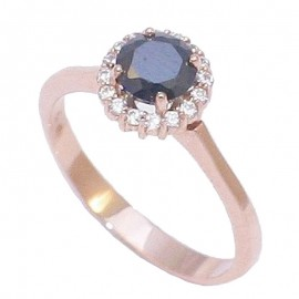 Rose gold ring K14 rosette with white zircon and black zircon in the middle No.57U3116