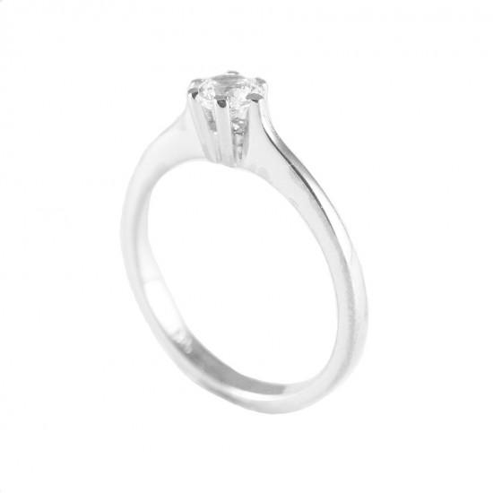 Wedding ring white gold K14 single stone with white zircon 2422