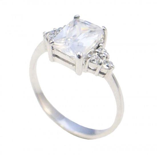 Δαχτυλίδι ασημένιο μονόπετρο επιπλατινωμένο και λευκά ζιργκόν Νο.53