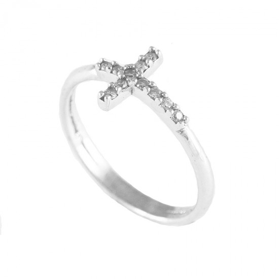 Sterling silver ring chevalier with design of the Cross platinum and white zircon No. 52