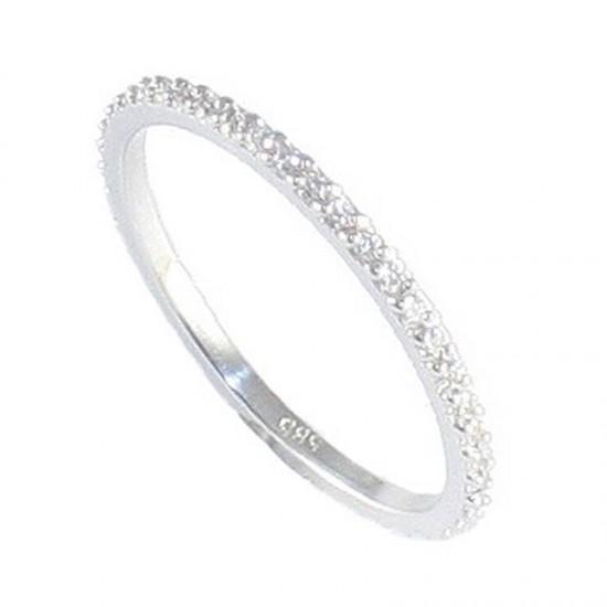 Δαχτυλίδι λευκόχρυσο Κ14 ολόβερο με λευκά ζιργκόν 13013