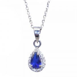 Necklace platinum K14 rosette with white zircon and synthetic stone in sapphire color Length of chain 40cm
