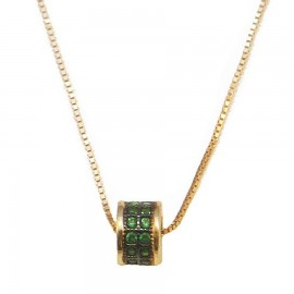 Gold necklace K14 with green zircons and black platinum Chain length 40cm