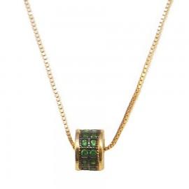 Κολιέ χρυσό Κ14 με πράσινα ζιργκόν και μαύρη πλατίνα Μήκος καδένας 40cm
