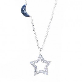 White Gold necklace Κ14 with star pattern double nailed with white and black zircon 131235