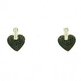 Σκουλαρίκια ασημένια με σχέδιο καρδιές επιπλατινωμένα με λευκά και μαύρα ζιργκόν