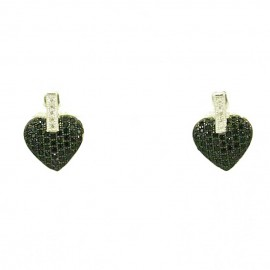 Sterling silver earrings with design hearts platinum plated with white and black zircons