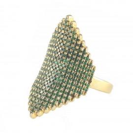 Δαχτυλίδι ασημένιο επιχρυσωμένο και πράσινα ζιργκόν Νο. 53