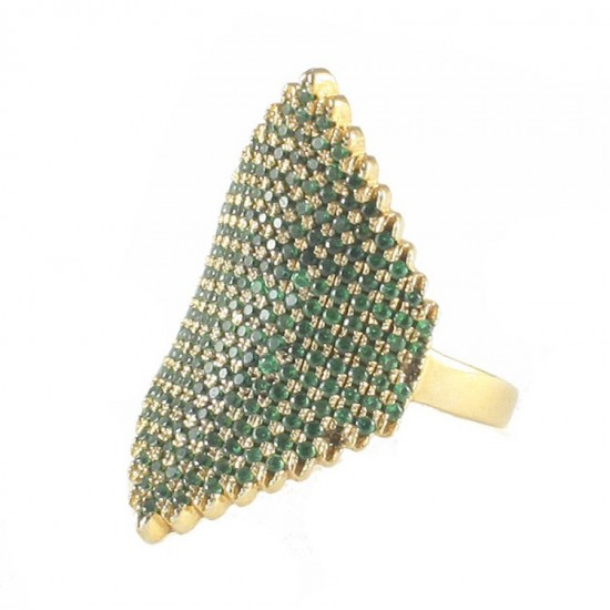 Silver ring gold plated and green zircons No. 53