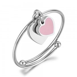 Stainless steel ring with heart design with pink enamel open fits to all fingers ANK214