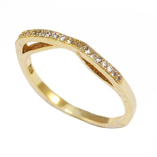 Sterling silver ring with white zircon and gold plated 280119