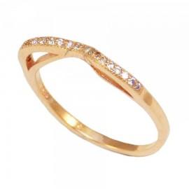 Δαχτυλίδι ασημένιο με λευκά ζιργκόν και ροζ επιχρύσωμα 280219