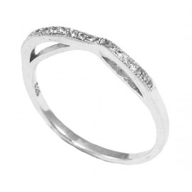 Sterling silver ring with white zircon and platinum  280319