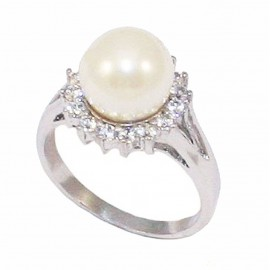 Silver rosette ring with white zircon and pearl  DM1558