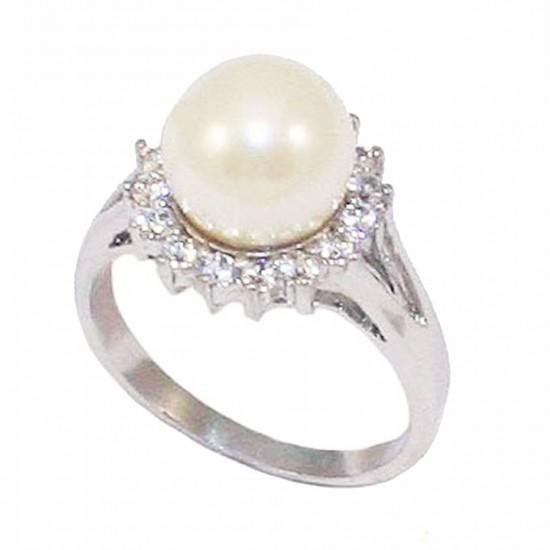 Δαχτυλίδι ασημένιο ροζέτα με λευκά ζιργκόν και μαργαριτάρι DM1558
