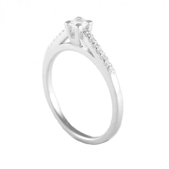 Δαχτυλίδι ασημένιο μονόπετρο με ζιργκόν 18515