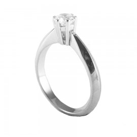 Sterling silver wedding ring with zircon 26821