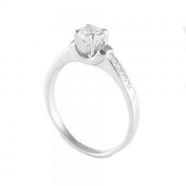 Δαχτυλίδι ασημένιο μονόπετρο με λευκά ζιργκόν 21217