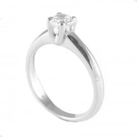 Δαχτυλίδι ασημένιο μονόπετρο με λευκό ζιργκόν 26221