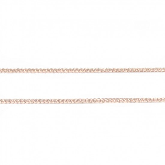 Silver Square Slate Chain with Pink Gold Plating Length 45cm 20255