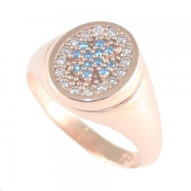 Sterling silver chevalier ring with rose gold plated with oval head with white and blue zircon 26516