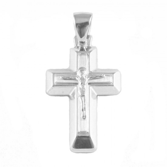 Sterling silver cross with the Crucified in matte and polished 595318