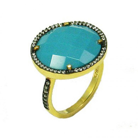 Silver ring goldplated black platinum white zircons and turquoise No. 56