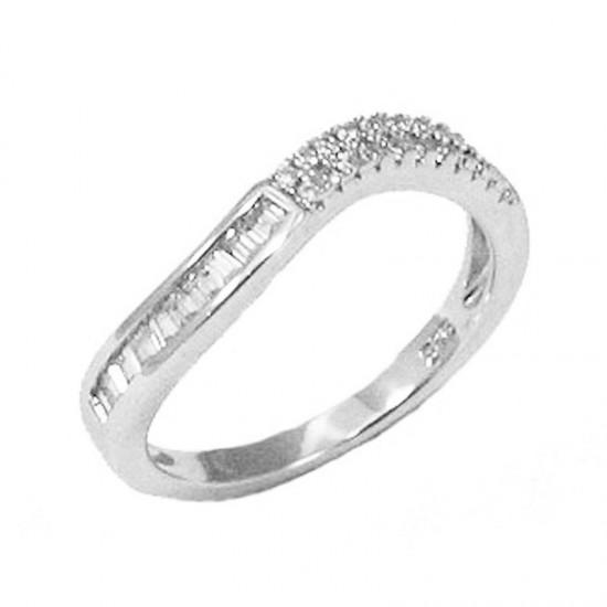 Δαχτυλίδι ασημένιο μισόβερο επιπλατινωμένο με λευκα ζιργκόν τύπου παγιέτας Νο. 56