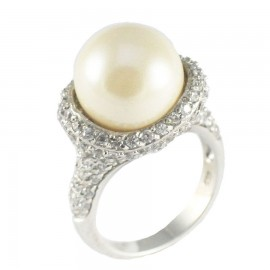 Sterling silver ring platinum with white zircons and pearl No. 52