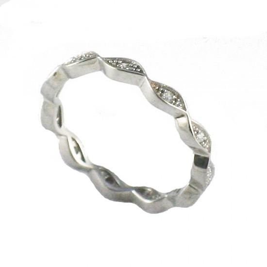 Δαχτυλίδι ασημένιο ολόβερο επιπλατινωμένο και λευκά ζιργκόν Νο. 56