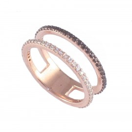 Sterling silver ring double all-round ring rose gold plating with white and black zircon No. 53