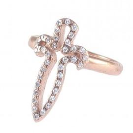Δαχτυλίδι ασημένιο με σχέδιο σπαθί με ροζ επιχρύσωμα και λευκά ζιργκόν Νο. 54