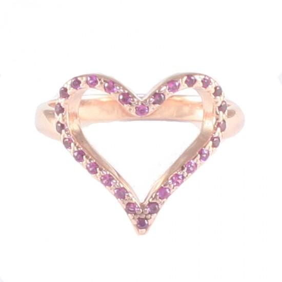 Δαχτυλίδι ασημένιο με σχέδιο καρδιά με ροζ επιχρύσωμα με μαύρη πλατίνα και κόκκινα ζιργκόν