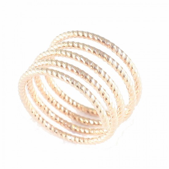 Silver ring with pink gold-plated spring