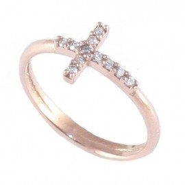 Sterling silver chevalier ring with cross pattern with pink gold plating and white zircon No. 52