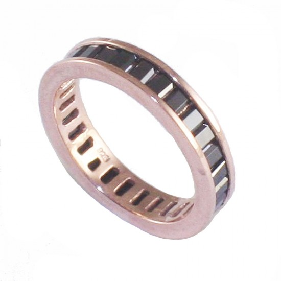 Silver ring rose gold plated and black zircons paillette shape