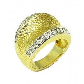 Δαχτυλίδι ασημένιο σφυρίλατο επιχρυσωμένο και λευκά ζιργκόν Νο. 54