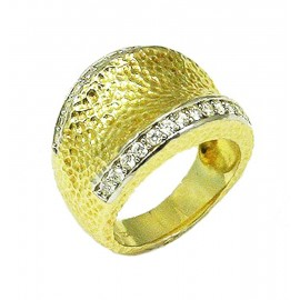 Sterling silver ring engraved gold plated and white zircons Νο. 54