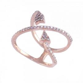 Δαχτυλίδι ασημένιο με σχέδιο το βέλος του έρωτα με ροζ επιχρύσωμα και λευκά ζιργκόν Νο. 56