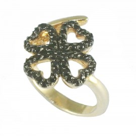 Sterling silver gold plated ring with four-hearted design with black platinum and black zircon No. 54