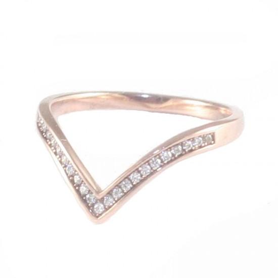 Δαχτυλίδι ασημένιο με ροζ επιχρύσωμα και λευκά ζιργκόν No. 54