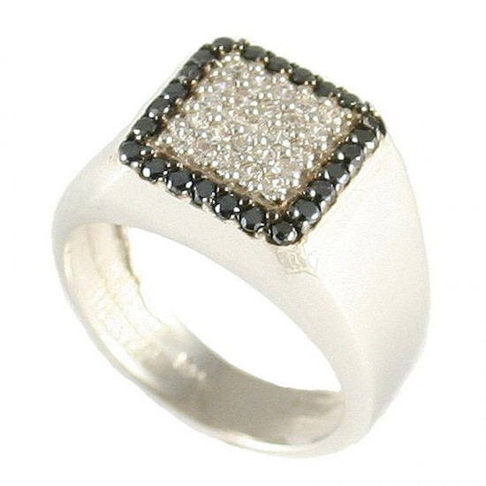 Sterling silver ring with square head with white and black zircon No.50 4355W