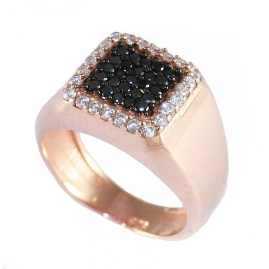 Δαχτυλίδι ασημένιο με τετράγωνη κεφαλή με λευκά και μαύρα ζιργκόν και ροζ επιχρύσωμα 4355R