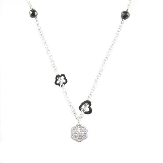 Sterling silver necklace platinum with white zircons and spinel with heart designs and flower Chain length 40cm-45cm