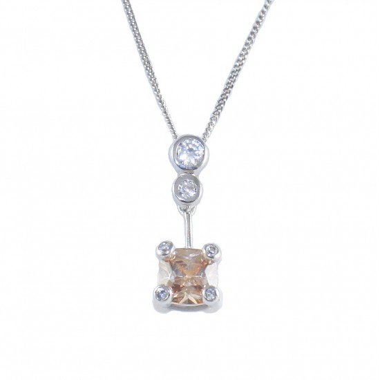 Sterling silver necklace solitaire with white and coffee zircon 32225