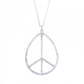 Sterling silver necklace with peace design platinum and white zircon Length 40-45cm Jewelry height 45mm width 30mm