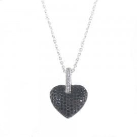 Sterling silver necklace with heart design with white and black zircon S0426N
