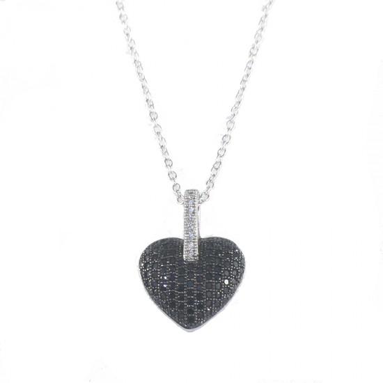 Κολιέ ασημένιο με σχήμα καρδιάς με λευκά και μαύρα ζιργκόν S0426N